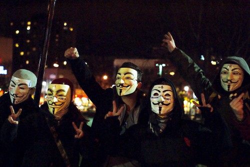 Taken during the evening protest against the government austerity policies on November 12th in Montreal. Police were unable to make any arrest, not for the lack of trying. The Anonymous is a perfect example of a modern activist group. (CC) Gerry Lauzon/filckr