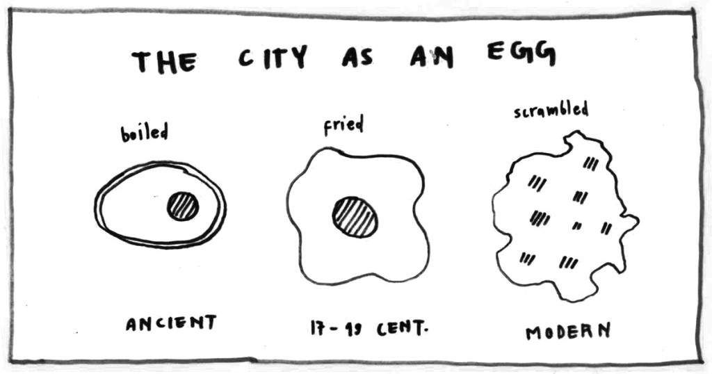 City as an egg / Based on a drawing of Cedric Price