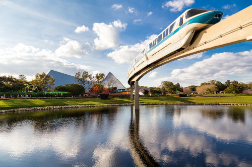 Monorail goes through Epcot Futureland in Walt Disney World, Florida, USA. Amelia Gapin/Flickr.com